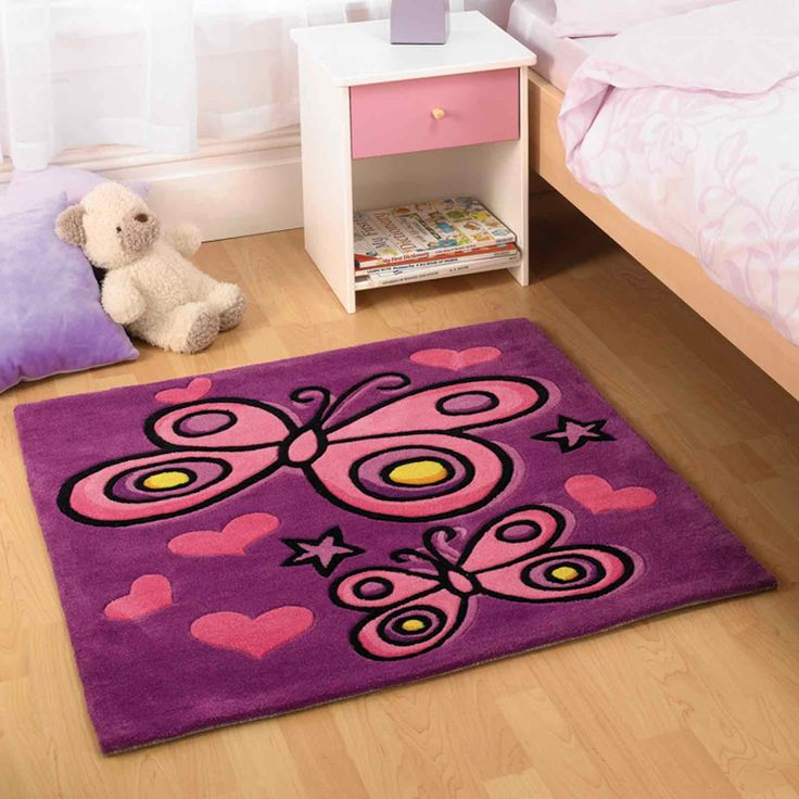Butterfly Purple Childrens Rugs