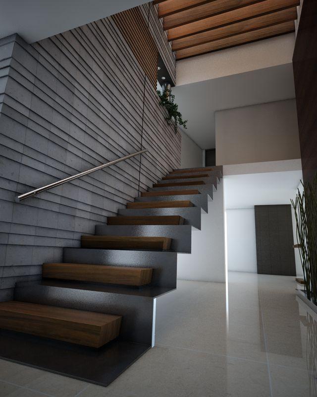 la escalera doble con estructura de acero escalon de madera acabado nogal el