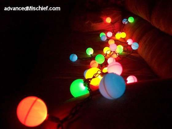 Ping Pong Ball Lights-Cut an X in each ping pong ball, and stick christmas lights into each ball.  Change them up however you want-multicolor, white, icicle style, use orange ping pong balls and draw pumpkin faces for halloween, dip them in glitter....