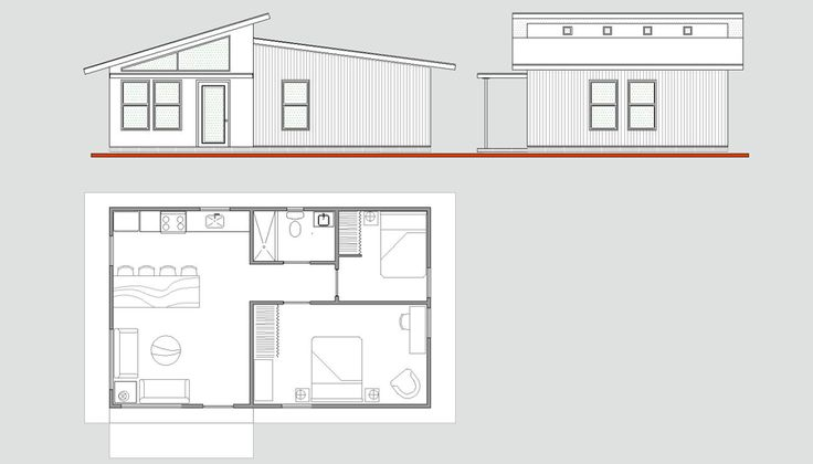 Floorplan 640 square feet, high ceilings, open living room/kitchen, mid-century modern from Cabin Fever