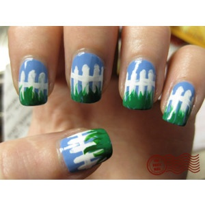 Picket fence nails: White Picket Fences, Nails Art, Fingernail Art, Beautiful Nails, Spring Fence, The Farms, Fence Nails, Nails Polish, Fingers Nails