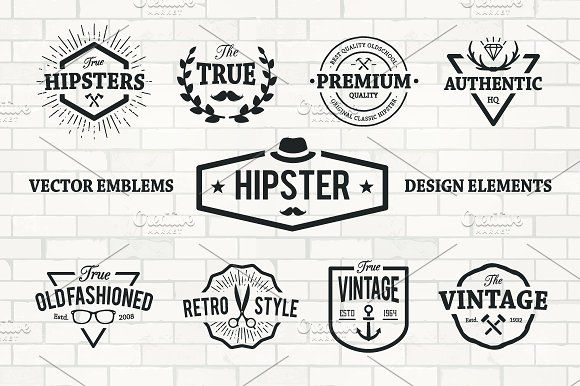 Hipster Emblems Set by Vecster on @creativemarket