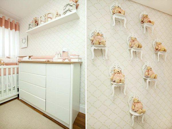 O quarto de bebê da Duda ganhou uma decoração bem delicada, repleta deursinhos! Para compor a ambientação, o Atelier Alexandra Abujamra criou um kit berço