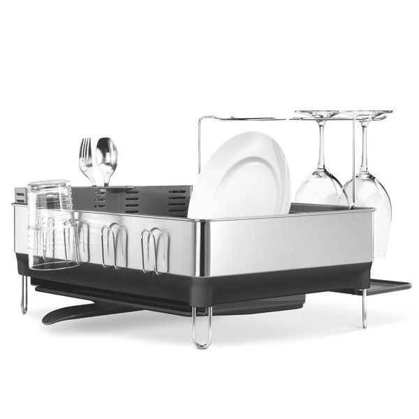 Featuring special space for stemware, glasses, silverware and more, this sleek simplehuman dish rack makes kitchen clean up easier in a pinch.