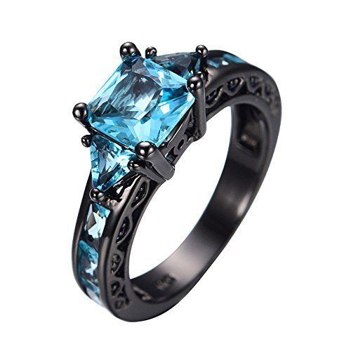"""ON SALE AT http://jewelrydealsnow.com/?a=B019W1KB5Q - Skyblue Princess Cut Aquamarine Wedding Ring Black Gold Plated CZ Women Vintage Engagement Rings Size 5-11"""""""