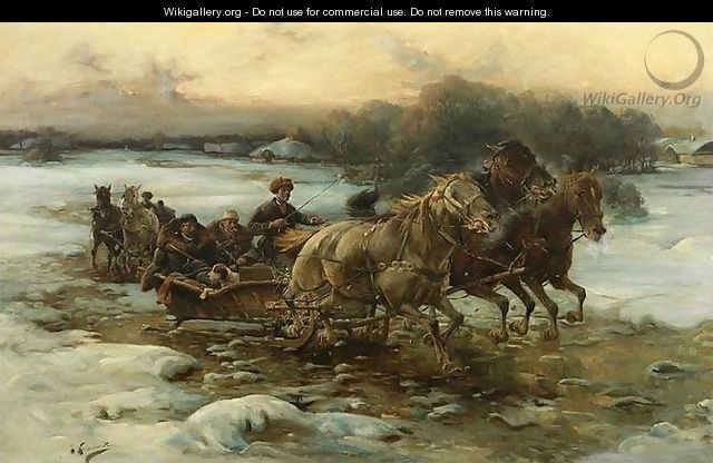 """  Vânătoare"". J. Konarski ( probabil un pseudonim de pictor polonez Franciszek Bujakiewicz (1856-1918)"