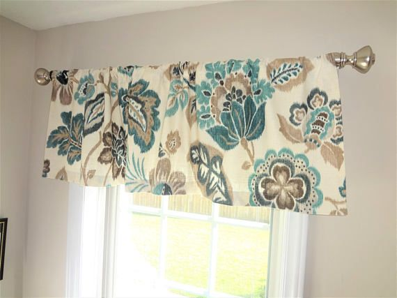Curtain Valance Topper Window Valance 52x15 Teal Turquoise