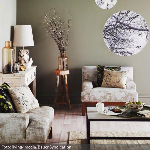 Kreisrund Ausgeschnittene Fotoposter Geben Dem Raum Einen Individuellen Look Ein Wald Motiv Macht Sie