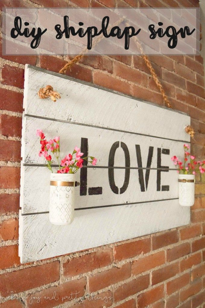 Rustic Farmhouse-Inspired DIY Shiplap Sign. Easy DIY to get the fixer upper…
