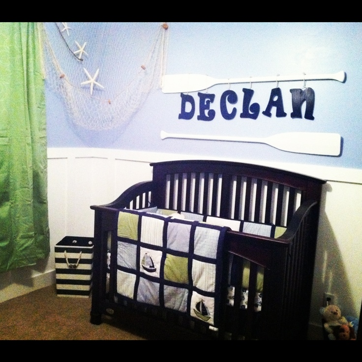 baby boy's nautical nursery.. Love it! Even without the red we want to add!