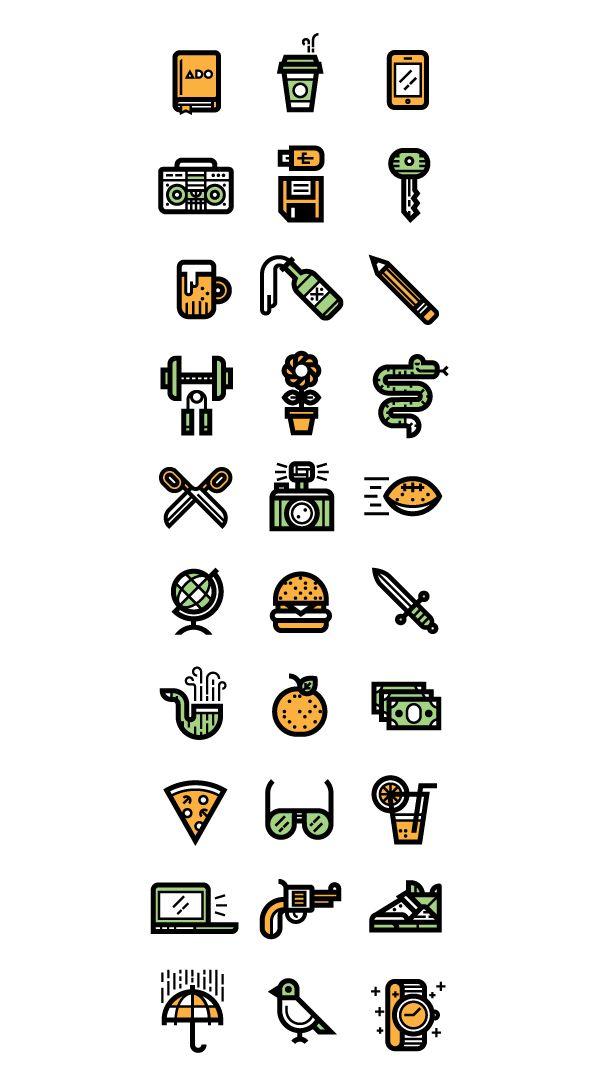 30 Random Icons, Kevin Moran, items, everyday, icon, football, beer, camera, key, snake, burger, globe stereo, sword, pipe, umbrella, bird, twitter