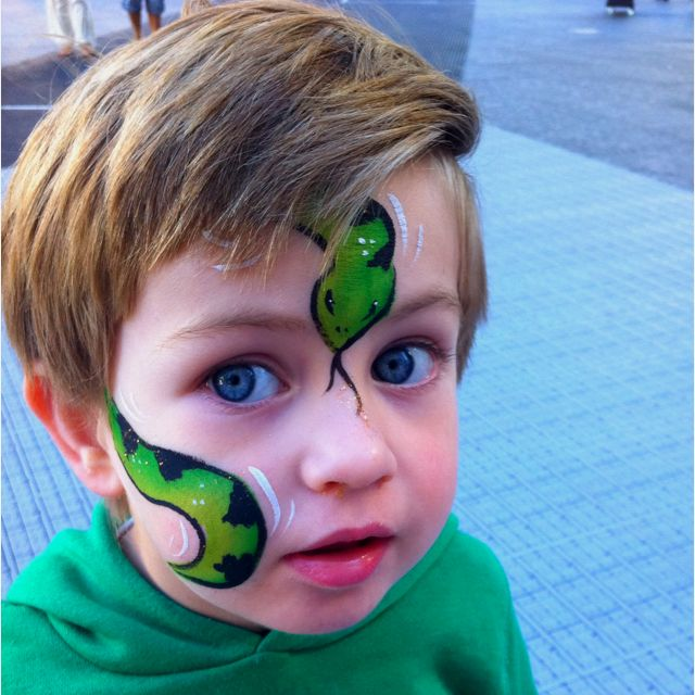 I have a similar picture of my own son wearing a snake. He loved that face painting so much it stayed on him for over a week. One of my favorite face paint designs. Spramani, art teacher blogger, www.EcoKidsArt.com