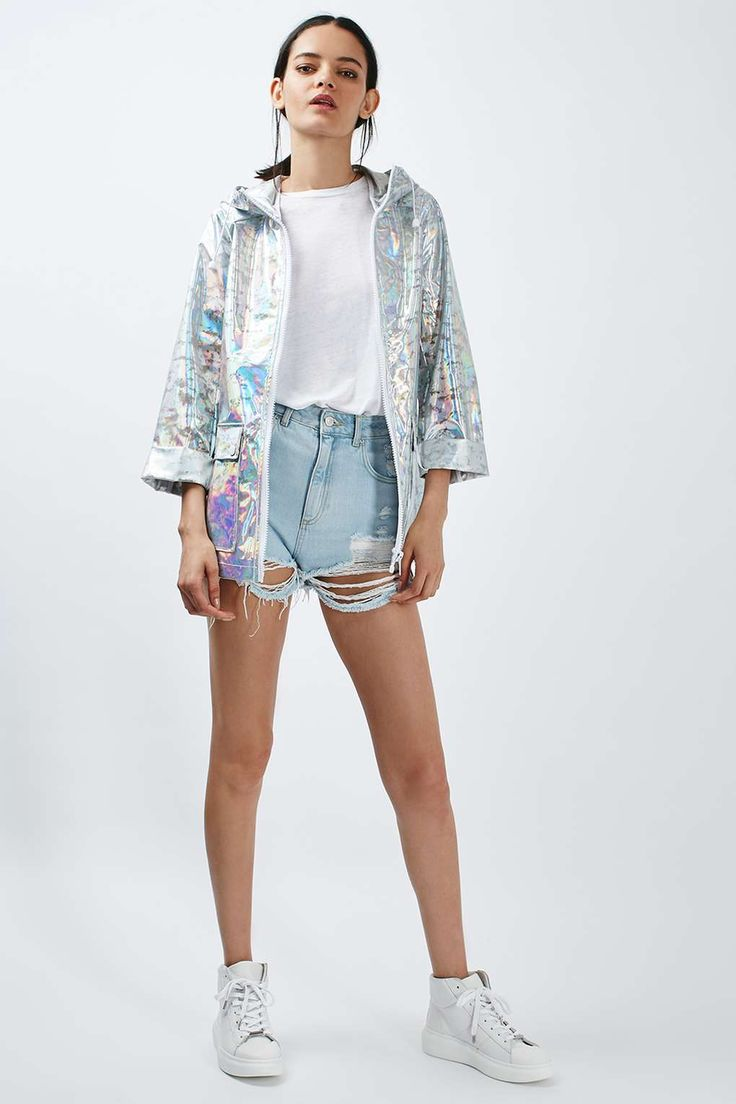 Summer is festival season and so a rain mac is a must. Why not face the rain in style with this holographic waterproof wonder! PETITE Holographic Rain Mac - Jackets & Coats - Clothing - Topshop