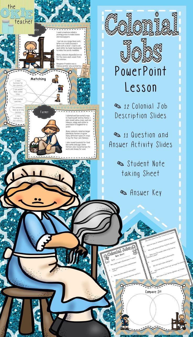 Colonial jobs powerpoint lesson teachingsocialstudies in