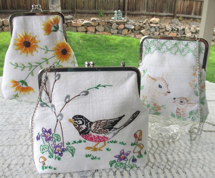 Isa Creative Musings: Vintage Embriodered Linen Clutch Bags...Just Created in time for Horseshoe Market