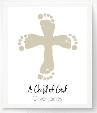 """Baby Baptism Gifts / Christening Gifts: Customized """"A Child of God"""" Christian Cross Footprint Art Print by Pitter Patter Print @ Etsy"""
