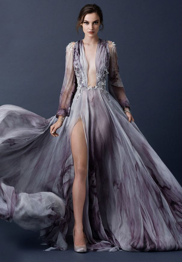 paolo-sebasion-AW15-the-sleeping-garden-blush-gold-bronze-bridal-gown-wedding-dress-violet-purple10
