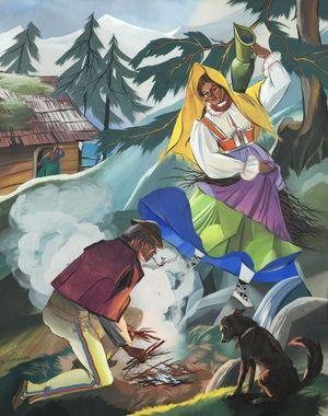 Zofia Stryjeńska obraz Rozniecanie ogniska