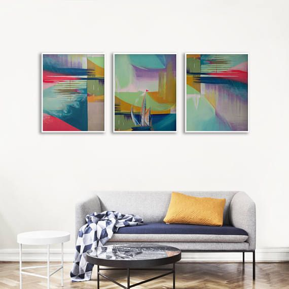 Abstract art print set for a modern living room or office. Get inspired by these prints of original acrylic painting in a bold color palette!ň+++ #gallerywall #gallerywallideas #gallerywalldecor #printablewallart #printablewalldecor #kacixart #abstractart