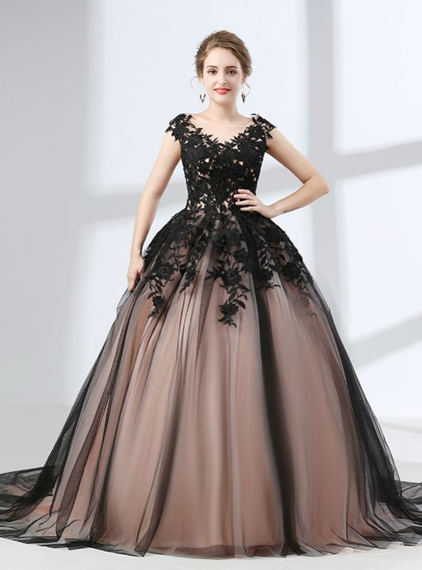 Black Tulle Ball Gown Appliques Sleeveless Prom Dress Stars