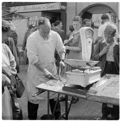 Fishmonger at Romford Market; 1948