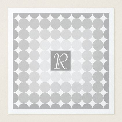 Modern Gray Circles Monogram Paper Dinner Napkin - monogram gifts unique design style monogrammed diy cyo customize