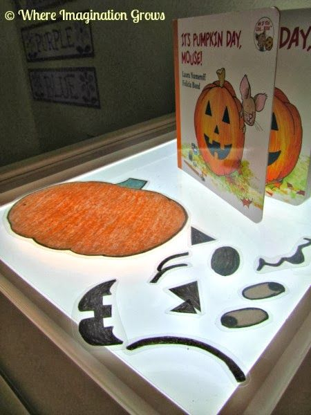 "Where Imagination Grows: ""It's Pumpkin Day, Mouse"" Activity {Pumpkin Faces & Light Table Play}"