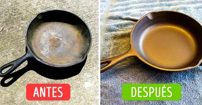 Necesitarás detergente para limpiar la estufa, guantes, bolsas para la basura y vinagre blanco. Pon una capa gruesa de limpiador para estufas sobre tu vieja sartén de hierro fundido. Para que el detergente no se reseque, ubica la sartén en una bolsa de plástico y átala bien. Déjala en la bolsa durante 1 a 2 días y luego lava la sartén. Nuevamente aplica una capa de limpiador y vuelve a meter la sartén en una bolsa de plástico por un día. (Sigue)