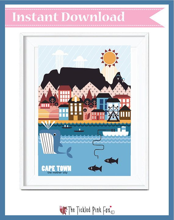 Cape Town the mother city poster by thetickledpinkfox on Etsy