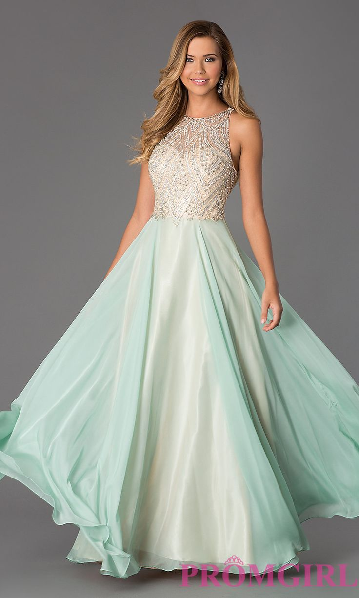 Prom Dresses, Celebrity Dresses, Sexy Evening Gowns: Floor Length Sleeveless Dress with Illusion Bodice by Dave and Johnny