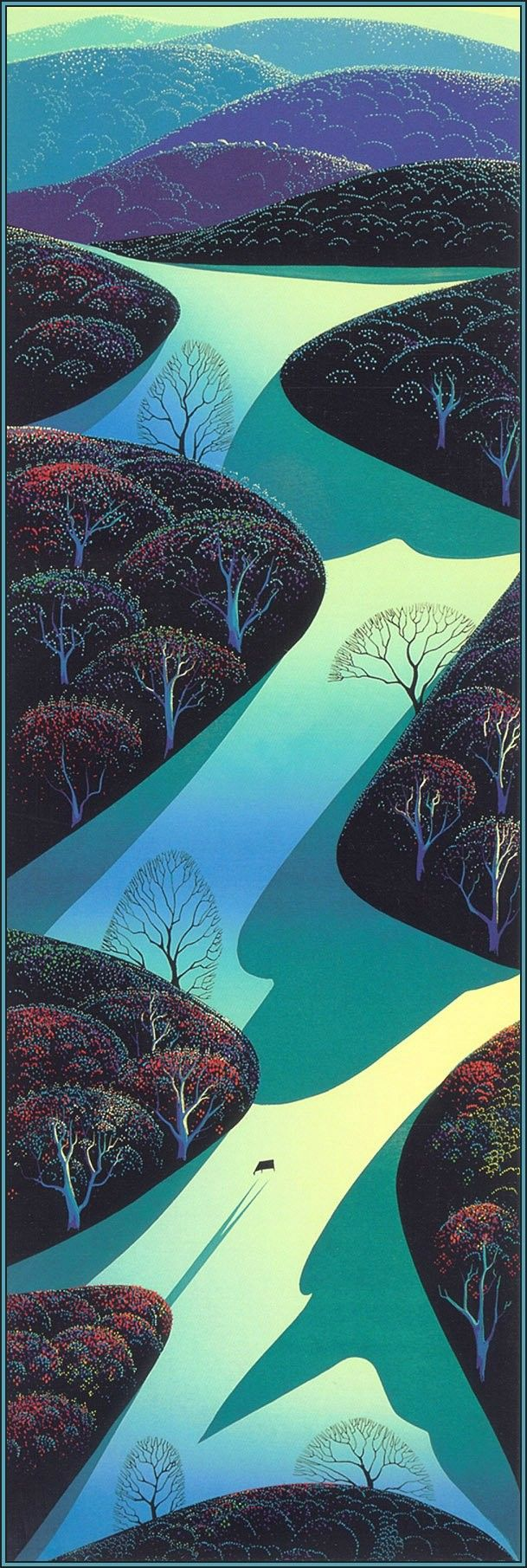 Eyvind Earle heres another of my favorites-worked for Disney-sleeping beauty for 1