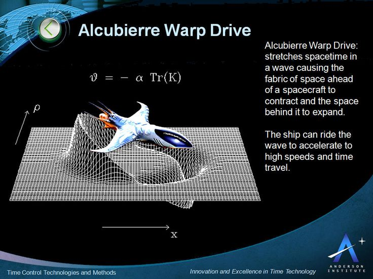 Alcubierre warp drive via Anderson Institute