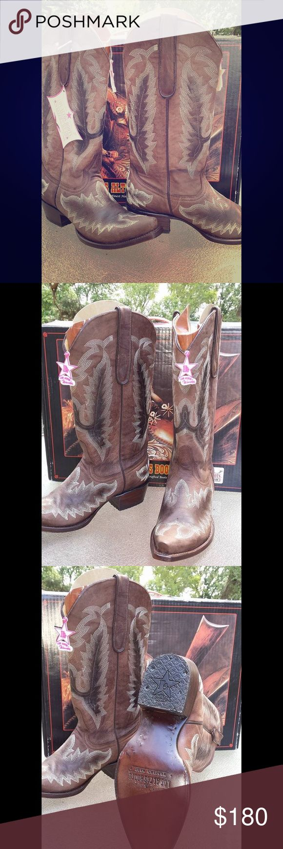 NWT Los Altos Women's Western Cowboy Boots, 9.5/10 NWT Los Altos Women's Western Cowboy leather Boots. Size 10, but run more like a 9.5. Never worn outside -- couldn't fit my on my sz 10 feet. 😥. Come new in box. Los Altos Shoes Heeled Boots