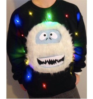 Light Up UGLY CHRISTMAS SWEATER - Abominable Snowman - Bumble!!! (Also available in Hoodie and Kid's Sizes!)  _____**Fast Shipping**_____ by TipitDesigns on Etsy https://www.etsy.com/listing/165936314/light-up-ugly-christmas-sweater