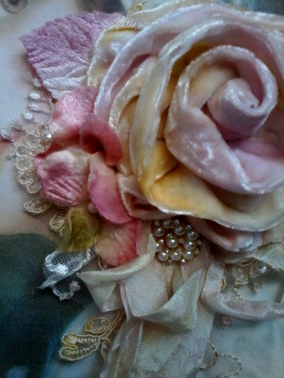525e9525b64 Large velvet shabby brooch, pink and yellow velvet rose pin, vintage style  floral posy pin, ribbon rose statement brooch, gypsy rose brooch   Fabric  flowers ...