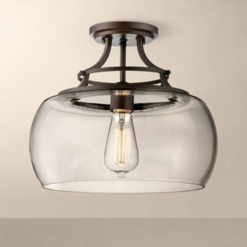 "Charleston Bronze 13 1/2"" Wide Clear Glass Ceiling Light - #3W819 