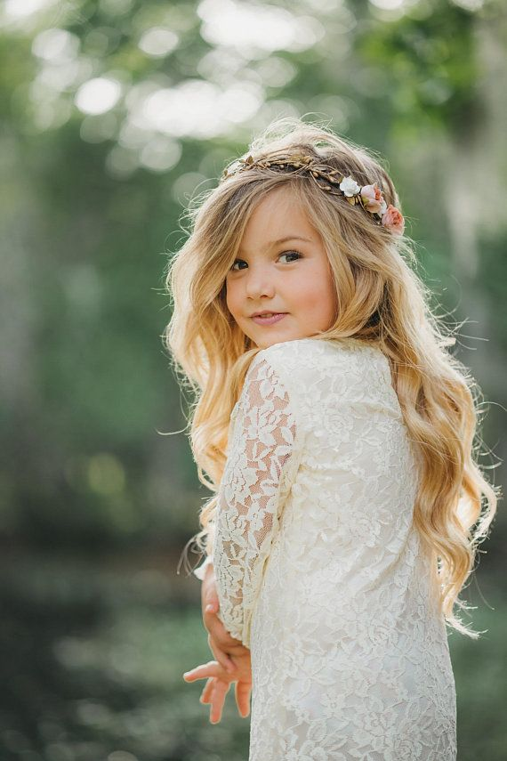 Gold Flower Crown - Flower Crown Wreath - Wedding Flower Crown - Bridal Headpiece - Child flower crown - Style: SCARLETT