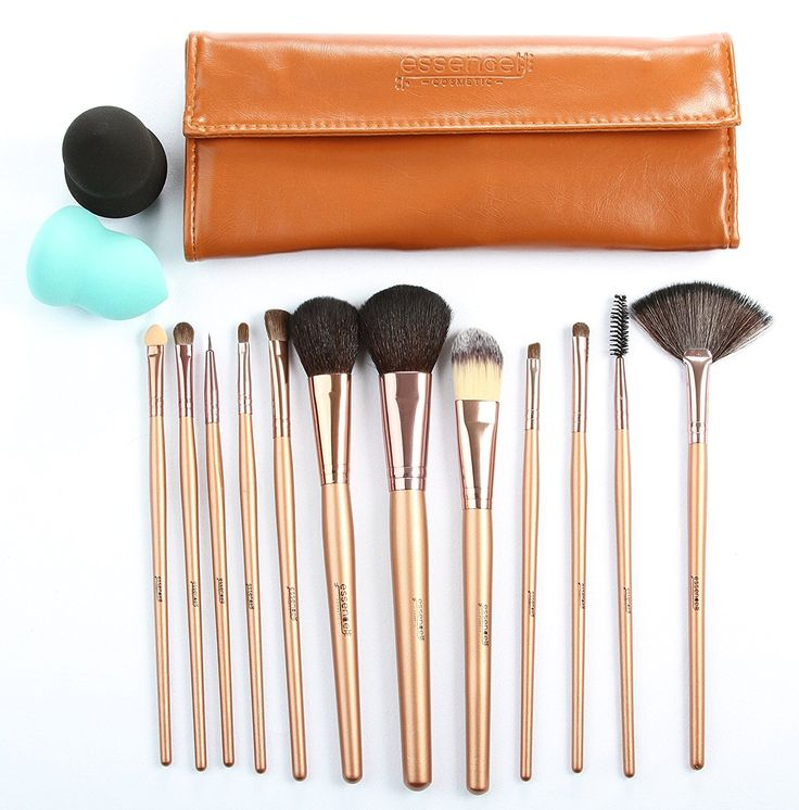 Essencell 12 Pieces Makeup Brush Set, Coffee with Makeup Blender Sponge and Travel Essentials Case