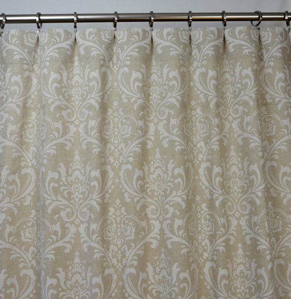 Pair of Rod Pocket Curtains in Cloud Linen Taupe Beige Ivory Traditions Damask print.