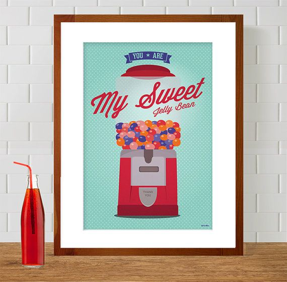 Vintage Candy Machine   Gumball   You Are My Sweet Jelly Bean print