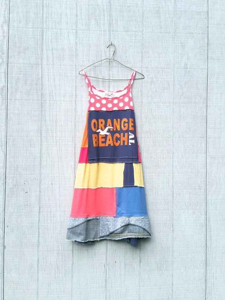 Orange Beach Live to Surf whimsical beach dress tunic upcycled clothing Patchwork Dress Eco Dress Artsy Dress by CreoleSha by CreoleSha…