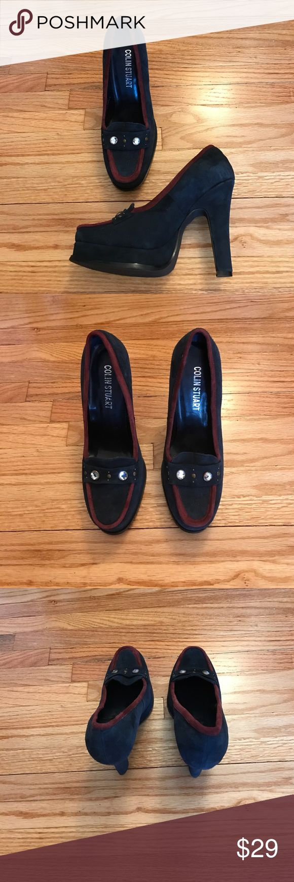 NWOT Colin Stuart Heels NWOT Fab Platform Heels By Colin Stuart. Leather upper. Size:7.5. Color is like a Teal with burgundy trim. Front of shoes show case bronze grommets & 2 Faux clear stones. Great shoe for fall/winter! NO TRADES. Colin Stuart Shoes Heels