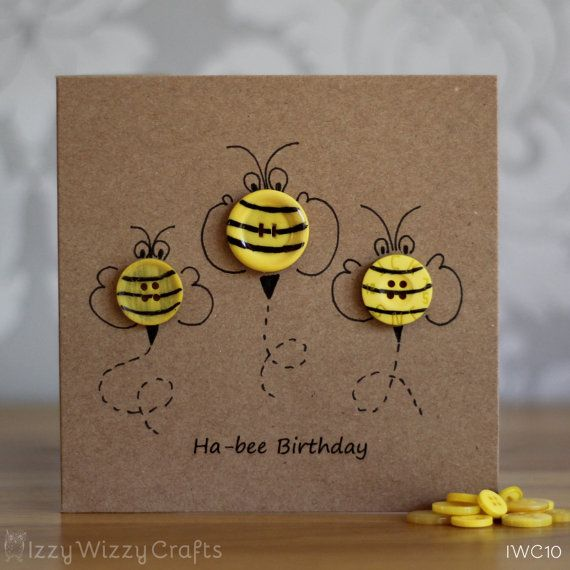 Hap-bee Birthday Bee Button Birthday Cards by IzzyWizzyCrafts