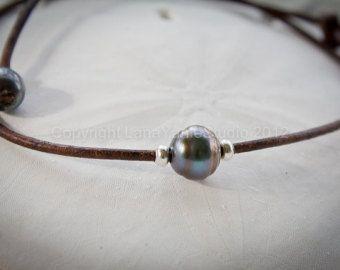 Collar de perlas de agua dulce perla y por LeatherPearlJewelry