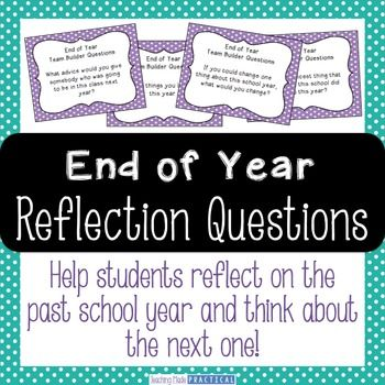End of Year Reflection Questions: Make the end of year more meaningful with these 24 end of year reflection question cards for small groups or pairs of students to use to help them reflect. These end of year reflection cards cards present an excellent opportunity for students to practice speaking and listening to each other while also promoting a safe classroom environment.