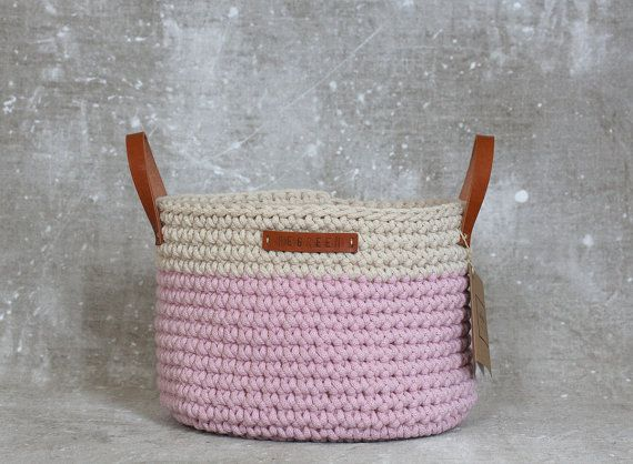 Handmade Crochet  Cotton Basket in cream/baby by regreenyourlife