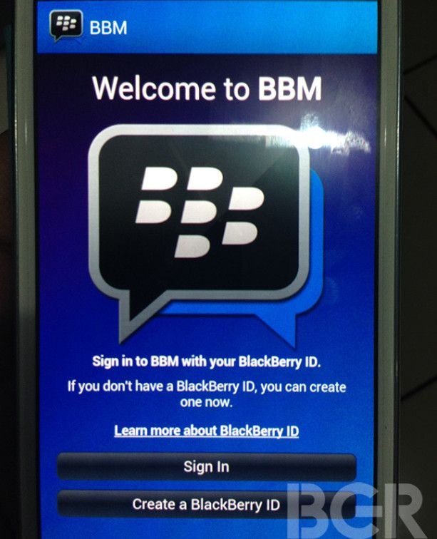 Blackberry messenger for android screenshot leaked of login page