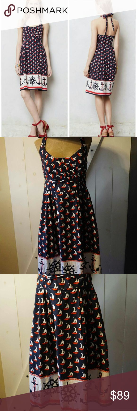 Anthropologie Windward Halter Dress Sold Out! Love this dress by 9-H15 Postamark. Adorned with schooners and anchors, this nautical dress is the quintesccential beach piece of even better for a boat day! Side pockets and back zip, cotton machine wash. In perfect used condition. This retro rockabilly style is everything! Anthropologie Dresses Midi