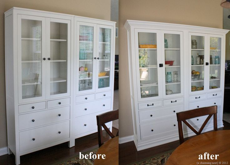 Two Ikea Hemnes Cabinets Turned Into A Built In With Base And Crown Moldings New