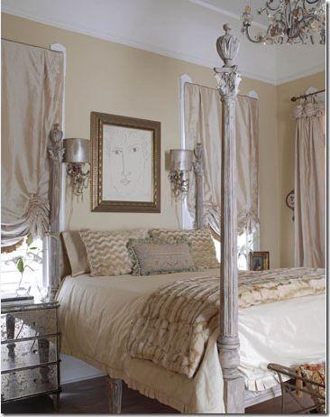 Luxurious silk taffeta shades in a sexy New Orleans bedroom.  Curtains in Cote De Texas Blog Aug 2009  http://cotedetexas.blogspot.com/2009/08/top-ten-design-elements-4.html